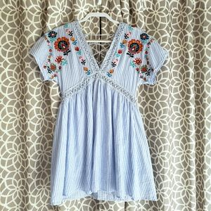 Altar'd State V-neck Floral Embroidered Dress
